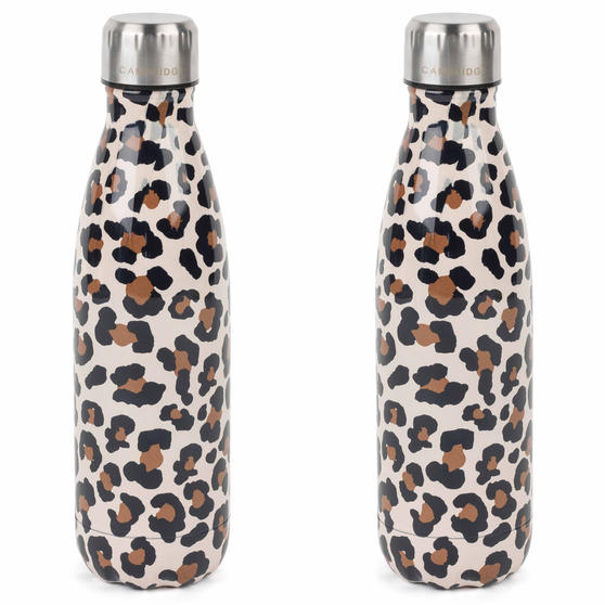 Cambridge COMBO-4147 Watercolour Leopard Thermal Insulated Flask Bottle, 500 ml, Stainless Steel, Set of 2