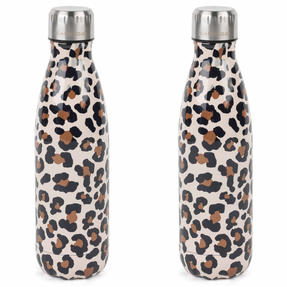 Cambridge COMBO-4147 Watercolour Leopard Thermal Insulated Flask Bottle, 500 ml, Stainless Steel, Set of 2 Thumbnail 1