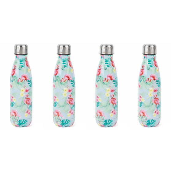 Cambridge Flamingo Jungle Thermal Insulated Flask Bottle, 500 ml, Stainless Steel, Set of 4