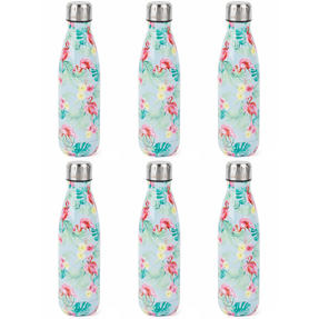 Cambridge COMBO-4155 Flamingo Jungle Thermal Insulated Flask Bottle, 500 ml, Stainless Steel, Set of 6