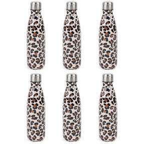 Cambridge COMBO-4157 Watercolour Leopard Thermal Insulated Flask Bottle, 500 ml, Stainless Steel, Set of 6