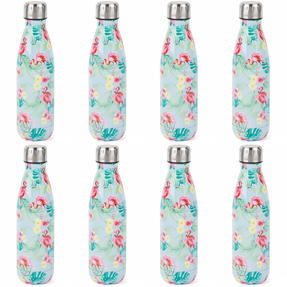 Cambridge COMBO-4160 Flamingo Jungle Thermal Insulated Flask Bottle, 500 ml, Stainless Steel, Set of 8