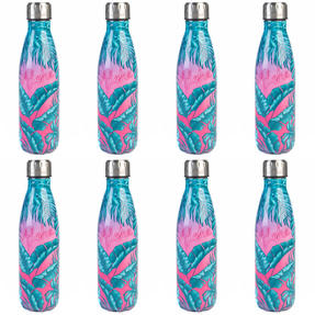 Cambridge COMBO-4161 Aloha Palm Beach Thermal Insulated Flask Bottle, 500 ml, Stainless Steel, Set of 8