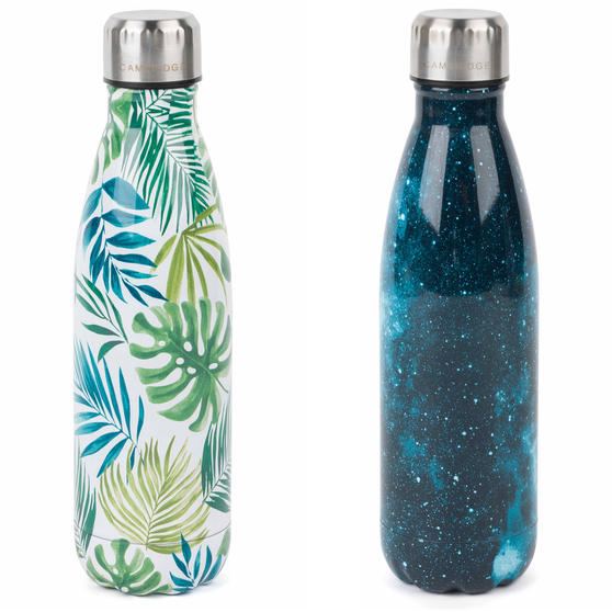 Cambridge COMBO-4167 Cosmos and Polynesia Thermal Insulated Flask Bottle, 500 ml, Stainless Steel, Set of 2