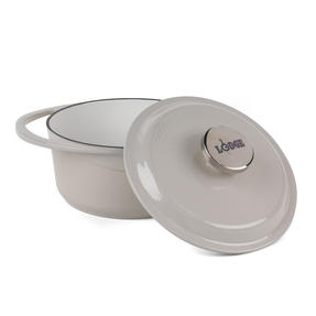 Lodge 1407001 Round Cast Iron Casserole Dish with Lid, 2.4 L, 20 cm, Cream Thumbnail 2