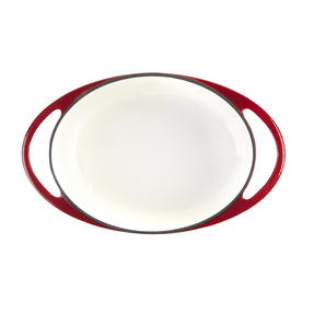 Lodge 1407003 Large Oval Cast Iron Casserole Dish with Lid, 4.7 L, 29 cm, Red Thumbnail 3