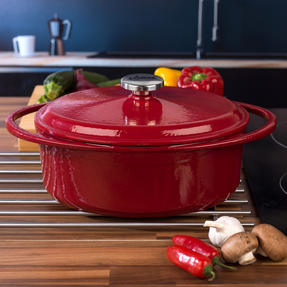 Lodge 1407003 Large Oval Cast Iron Casserole Dish with Lid, 4.7 L, 29 cm, Red Thumbnail 6