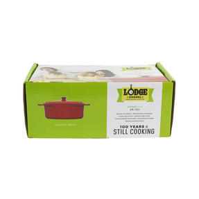 Lodge 1407003 Large Oval Cast Iron Casserole Dish with Lid, 4.7 L, 29 cm, Red Thumbnail 9