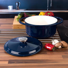 Lodge 1407002 Large Round Cast Iron Casserole Dish with Lid, 4 L, 24 cm, Blue Thumbnail 7