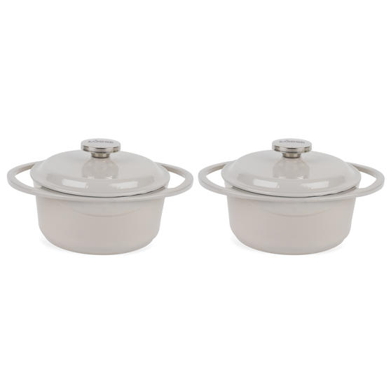 Lodge COMBO-4362 Round Cast Iron Casserole with Enamel Finish, 20 cm/2.4 L, Cream, Set of 2