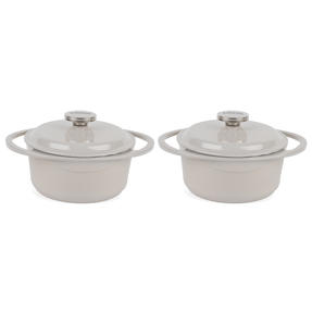 Lodge COMBO-4362 Round Cast Iron Casserole with Enamel Finish, 20 cm/2.4 L, Cream, Set of 2 Thumbnail 1