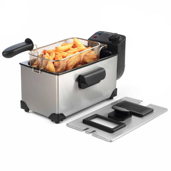 Progress Large Deep Fat Fryer With Removable Cooking Basket, 3 L, 2200 W