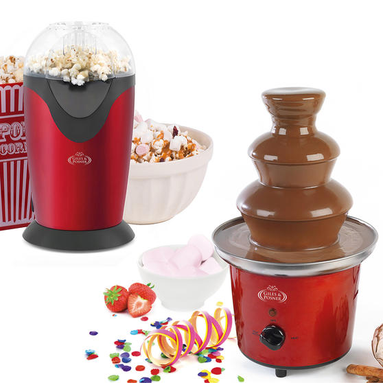 Giles & Posner Popcorn Maker and Chocolate Fountain Party Gadget Set