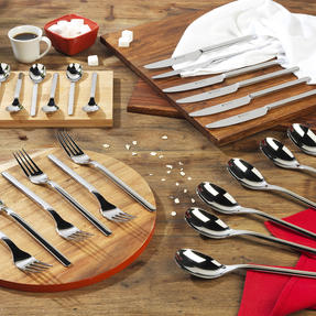 Bellevue COMBO-4515 Polished Cutlery Set with Mirror Polished Finish, Stainless Steel, 24 Piece Thumbnail 3