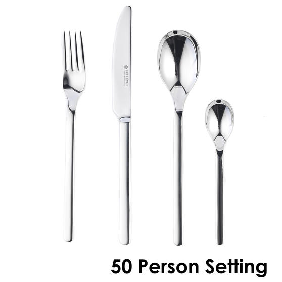 Bellevue COMBO-4530 Polished Cutlery Set with Mirror Polished Finish, Stainless Steel, 50 Place Set ? Ideal For Commercial Use