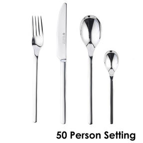 Bellevue COMBO-4530 Polished Cutlery Set with Mirror Polished Finish, Stainless Steel, 50 Place Set ? Ideal For Commercial Use Thumbnail 1