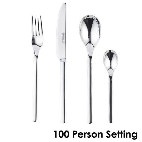 Bellevue COMBO-4531 Polished Cutlery Set with Mirror Polished Finish, Stainless Steel, 100 Place Set ? Ideal For Commercial Use
