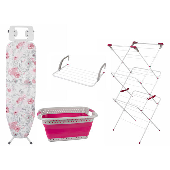 Airer, Floral Print Board, Laundry Basket & Radiator Airer Set
