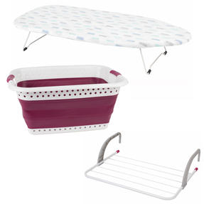 Table Top Ironing Board with Purple Laundry Basket & Radiator Airer