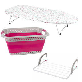 Ruby Table Top Ironing Board with Laundry Basket & Radiator Airer