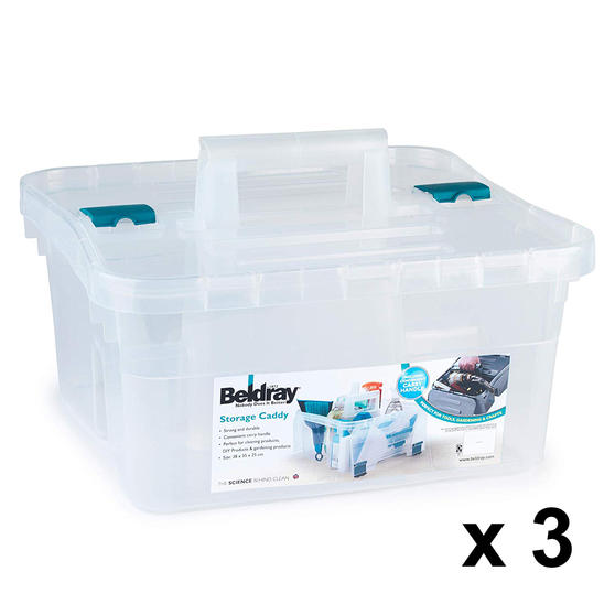 Beldray COMBO-4622 DIY, Hobby, Cleaning Caddy with Lid, Small, Clear, Set Of 3
