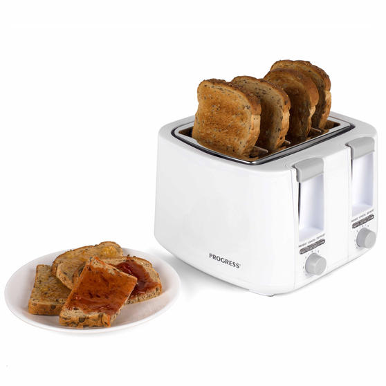Progress EK3394P Four Slice Toaster with Variable Browning Control, 1500 W, White