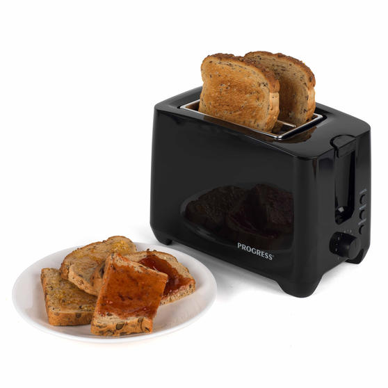 Progress Two-Slice Toaster With Slide-Out Crumb Tray, 750 W, Black