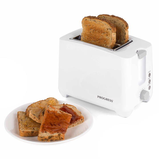 Progress Two Slice Toaster with Slide-Out Crumb Tray, 750 W, White