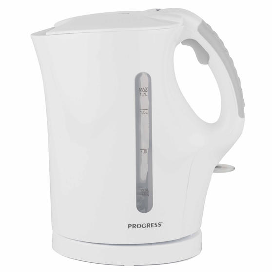 Progress 1.7 L Plastic Kettle with Soft Grip Handle, 2200 W, White