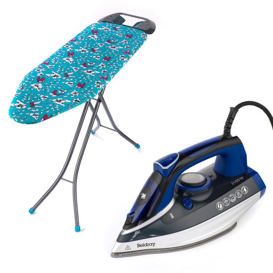 Beldray 3100 W Ultra Ceramic Steam Iron with Dual Soleplate Technology and Eve Print Ironing Board