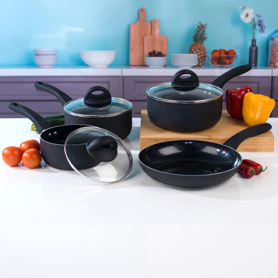 Beldray Non-Stick Ceramic Saucepan and Frying Pan Set, 6 Piece, Black Thumbnail 2