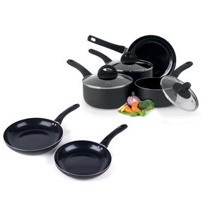 Beldray COMBO-4570 Non-Stick Ceramic Saucepan and Frying Pan Set, 6 Piece, Black Thumbnail 1