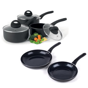 Beldray COMBO-4571 Non-Stick Ceramic Saucepan and Large Frying Pan Set, 5 Piece, Black