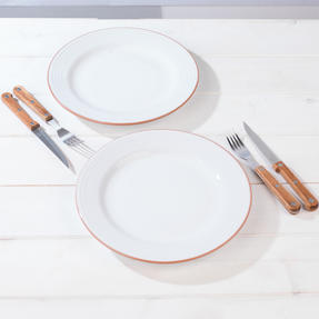 Jamie Oliver 552799 Get Inspired Set of 2 Terracotta Dinner Plates, 28 cm, White, Dishwasher Safe Thumbnail 3