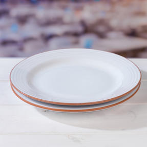 Jamie Oliver 552799 Get Inspired Set of 2 Terracotta Dinner Plates, 28 cm, White, Dishwasher Safe Thumbnail 6