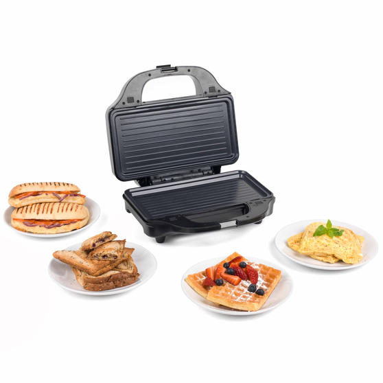 Salter XL 4-in-1 Snack Maker with Waffle, Panini, Toastie And Omelette Plates, 900 W