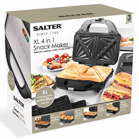 Salter XL 4-in-1 Snack Maker with Waffle, Panini, Toastie And Omelette Plates, 900 W  Thumbnail 12