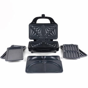 Salter XL 4-in-1 Snack Maker with Waffle, Panini, Toastie And Omelette Plates, 900 W  Thumbnail 2