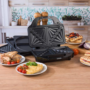 Salter EK2143FOUR XL 4-in-1 Snack Maker with Waffle, Panini, Toastie And Omelette Plates, 900 W Thumbnail 3