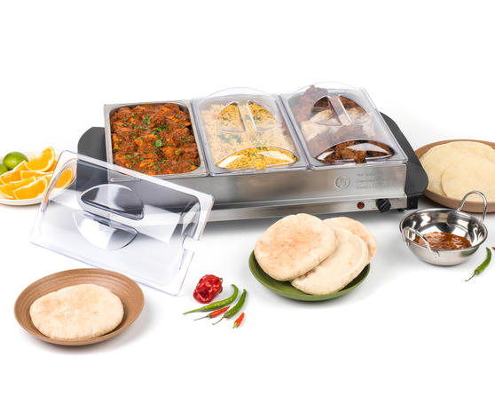 Giles & Posner EK2611 Three Pan Buffet Server, 7.5 L, 300 W, Stainless Steel