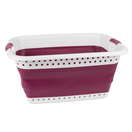 Purple Space Saving Collapsible Laundry Basket