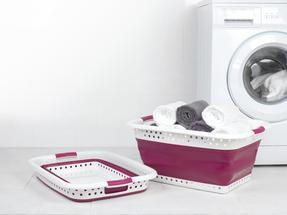 Kleeneze KL062376PUREU Space Saving Collapsible Laundry Basket, 60 L, Purple/White Thumbnail 3