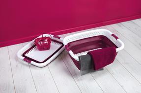 Kleeneze KL062376PUREU Space Saving Collapsible Laundry Basket, 60 L, Purple/White Thumbnail 4
