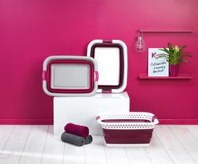 Kleeneze KL062376PUREU Space Saving Collapsible Laundry Basket, 60 L, Purple/White Thumbnail 5