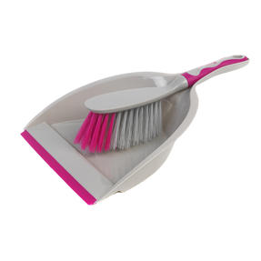 Kleeneze KL062390EU Deluxe Space Saving Dustpan and Brush Set, Grey/Pink