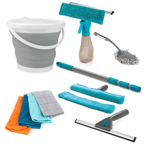 Beldray Window and Home Cleaning Set with Window Cleaners, Collapsible Bucket, Microfibre Cloths and Chenille Duster