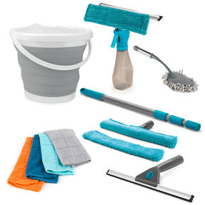 Beldray COMBO-4537 Window and Home Cleaning Set with Window Cleaners, Collapsible Bucket, Microfibre Cloths and Chenille Duster