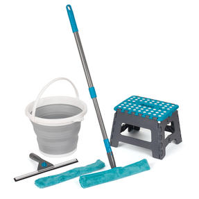 Beldray COMBO-4576 Window Cleaning Set with Stool and Collapsible Bucket