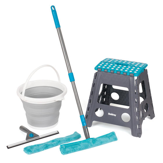 Beldray Window Cleaning Set with Stool and Collapsible Bucket