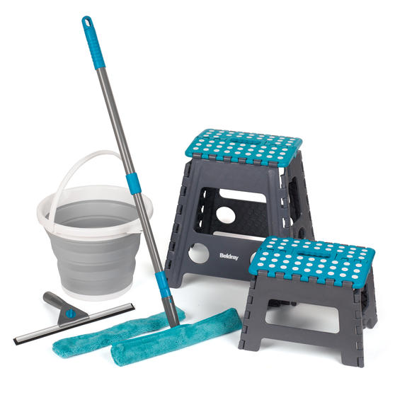 Beldray Window Cleaning Set with Small and Large Step Stool and Collapsible Bucket